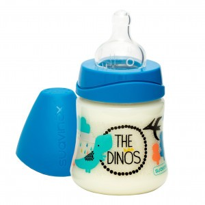 Suavinex Fles 3 Positie Silicone +0 maand 150 ml The Dinos Donkerblauw
