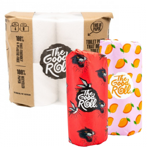 The Good Roll Gerecycleerd Toiletpapier Wrapless (4 rollen) Paperbag + Gerecycleerde Keukenrol The Cheerfull Choice (2 rollen)