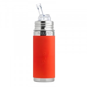 Pura Thermos Rietjesfles 260ml met Sleeve Oranje