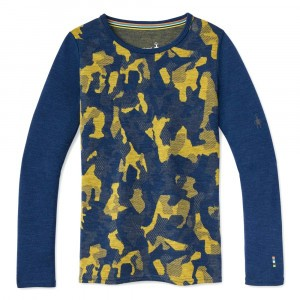 Smartwool Thermisch Ondergoed Kids Merino 250 Shirt met lange mouwen Pattern - Alpine Blue Camo
