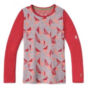 Smartwool Thermisch Ondergoed Kids Merino 250 Shirt met lange mouwen Pattern - Light Gray Pinwheel