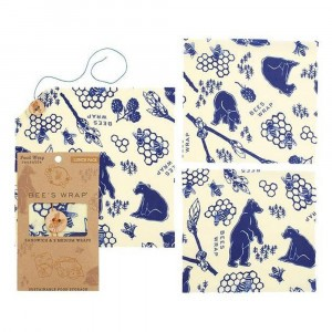 Bee's Wrap Herbruikbare Food Wrap Bijenwasfolie Lunchpack 'Bee's & Bears' (3 stuks)