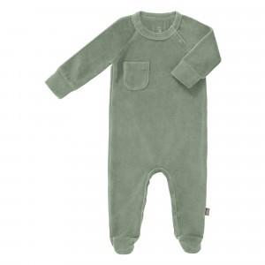 Fresk Pyjama met voetjes Velours Forest Green