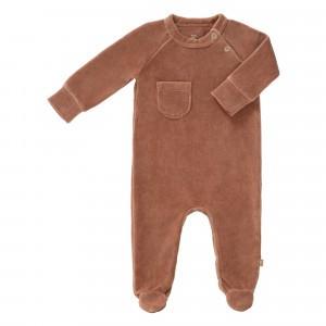 Fresk Pyjama met voetjes Velours Tawny Brown