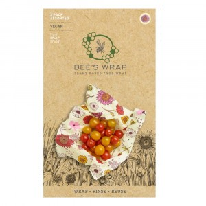 Bee's Wrap Vegan Herbruikbare Food Wrap Vershoudfolie Starter Set 'Meadow Magic' (Small, Medium, Large)