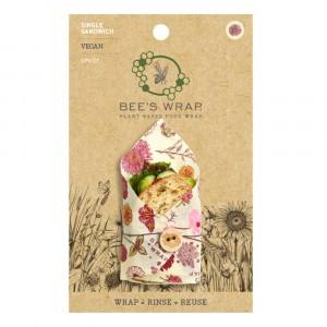 Bee's Wrap Vegan Herbruikbare Food Wrap Vershoudfolie Sandwich  'Meadow Magic' (1 stuk)