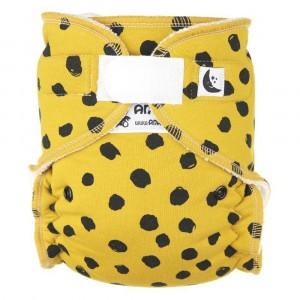 Anavy Nachtluier XL met velcro Black Dots Mustard (6-18 kg)