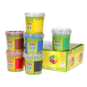 Ökonorm Vingerverf Nawaro 6 kleuren: Geel, Rood, Groen, Blauw, Bruin, Zwart (6x150 ml)