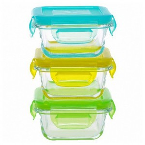 Kooleco Glazen Bewaardoosjes Vierkant 3 stuks (150 ml)