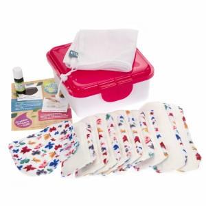 Cheeky Wipes Uitwasbaar Maandverband Minky & Bamboe Volledige Kit Butterfly Bye - Roze Doos
