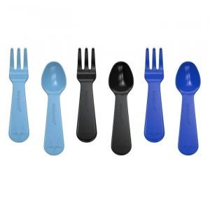 Lunch Punch Vork en Lepel (set van 3) Blauw