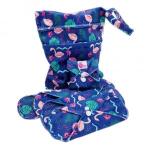 Cheeky Wipes Uitwasbaar Maandverband Starterspakket: Mix van Maandverbanden + Waszak Minky Flamingo Go