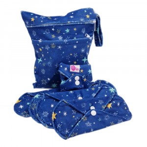 Cheeky Wipes Uitwasbaar Maandverband Starterspakket: Mix van Maandverbanden + Waszak Minky Starry Night