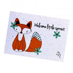 "Bloom Your Message Postkaart Flowers Fox ""Welcome Little Sprout"""