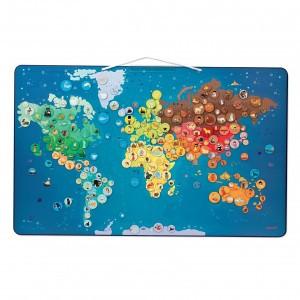 Janod Magnetische wereldkaart Dieren