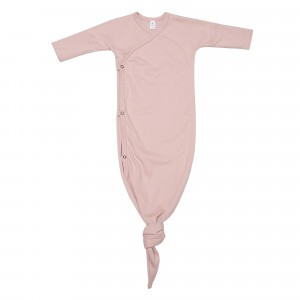 Wooly Organic Kimono Gown met Knoop Roze (0-6 maand)
