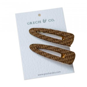 Grech & co. Haarspelden Woven Clips (set van 2) Dark Brown