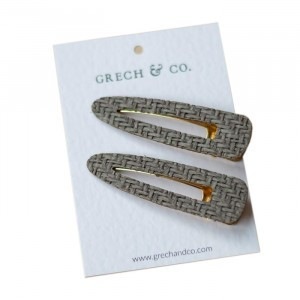 Grech & co. Haarspelden Woven Clips (set van 2) Grey