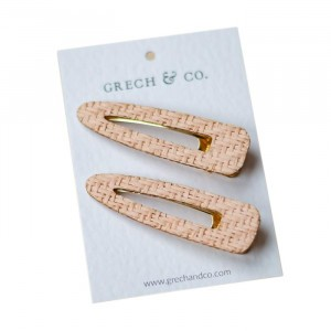 Grech & co. Haarspelden Woven Clips (set van 2) Pale