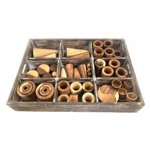 Papoose Toys Box met Losse Onderdelen (72 stuks) Naturel