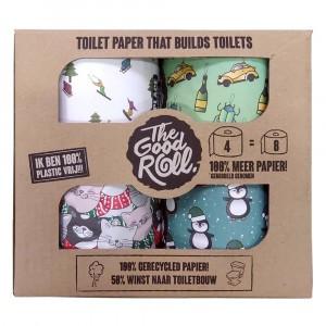 The Good Roll Gerecycleerd Toiletpapier Holiday X-mass Special (4 rollen)