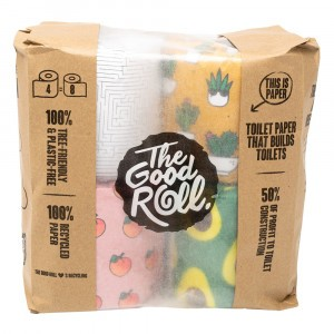 The Good Roll Gerecycleerd Toiletpapier Cheerfull (4 rollen) Paperbag