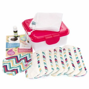 Cheeky Wipes Uitwasbaar Maandverband Minky & Bamboe Volledige Kit Go Faster Stripes - Roze Doos
