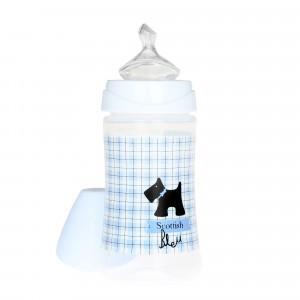 Suavinex Fles Anatomisch Silicone 0-6 maand Medium flow 270 ml Scottish Blauw Zwart Hondje